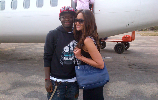 Menaye Donkor and Sulley Muntari - Flying back from Kumasi from Sammy Kuffuor testimonial